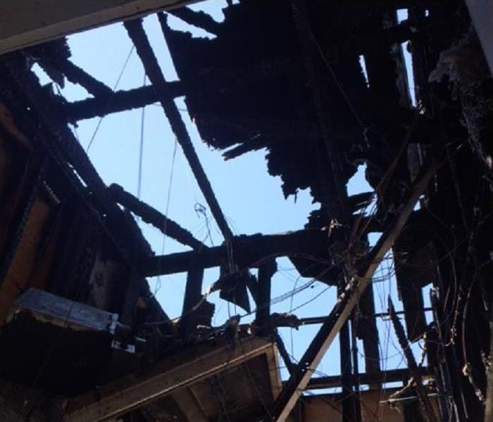 Structure of a building burned down
