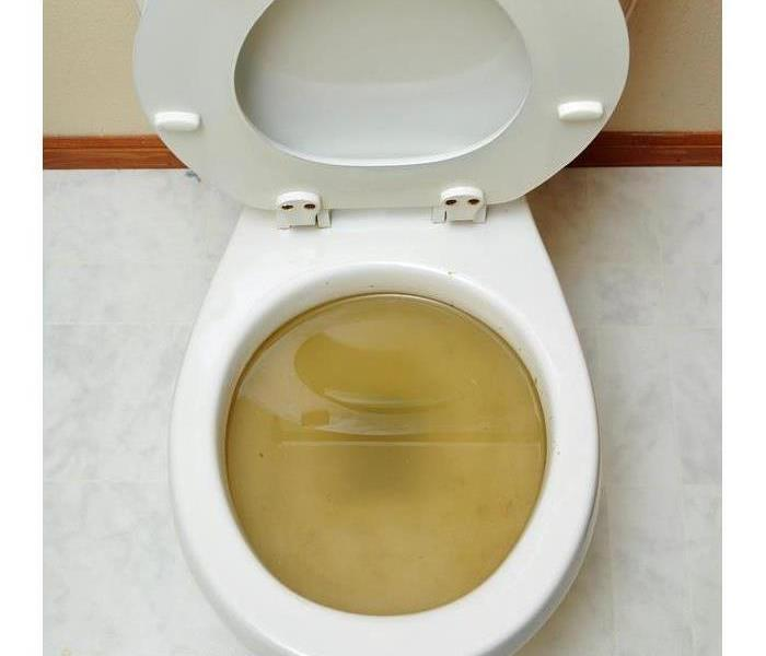 A toilet with sewage water