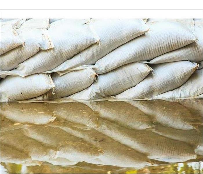 Water barrier of sand bag to prevent flood